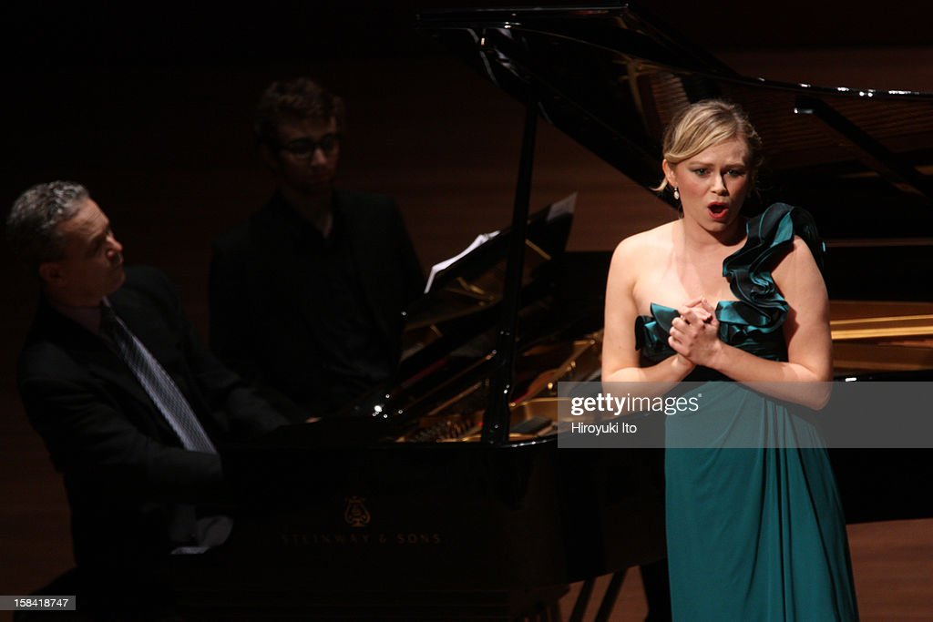 Singers from the Juilliard School, accompanied by Brian Zeger on piano, performing the songs of Hugo Wolf at Alice Tully Hall on Thursday night, December 6, 2012.This image: The soprano Deanna Breiwick.