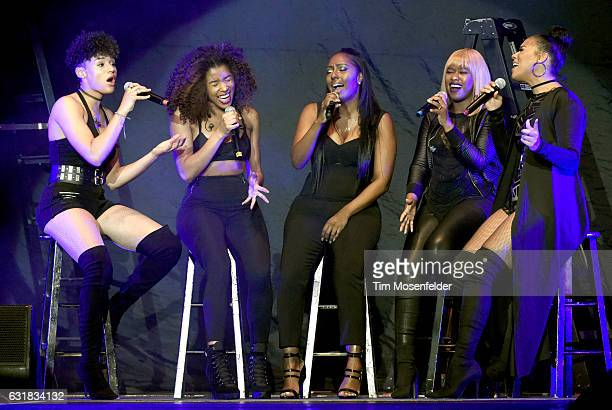 Singers Gabby Carreiro Brienna DeVlugt Ashley Williams Shyann Roberts and Kristal Lyndriette of June's Diary perform at ORACLE Arena on January 15...