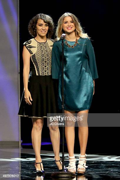 Singers Gaby Moreno and Sofia Reyes speak onstage during The Los Angeles Times and Hoy 2015 Latinos de Hoy Awards at Dolby Theatre on October 11 2015...