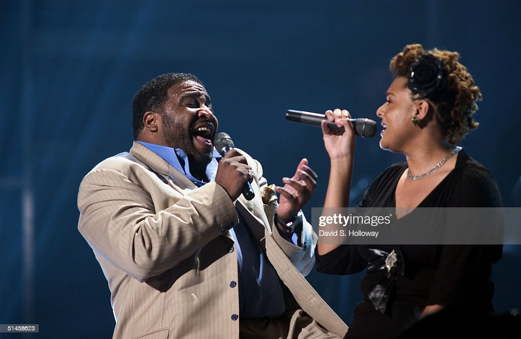 Singers Gerald Levert and Marsha Ambrosius perform at Black Entertainment Television's 10th Anniversary Walk of Fame celebration honoring Smokey Robinson on October 9, 2004 in Washington, DC.