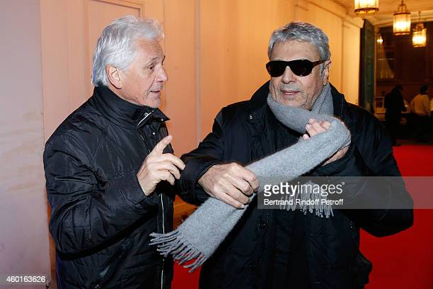 Singers Gerard Lenorman and Enrico Macias attend the Sarah Guetta Party in Paris for the first anniversary of the Hairdressing salon Sarah Guetta on...