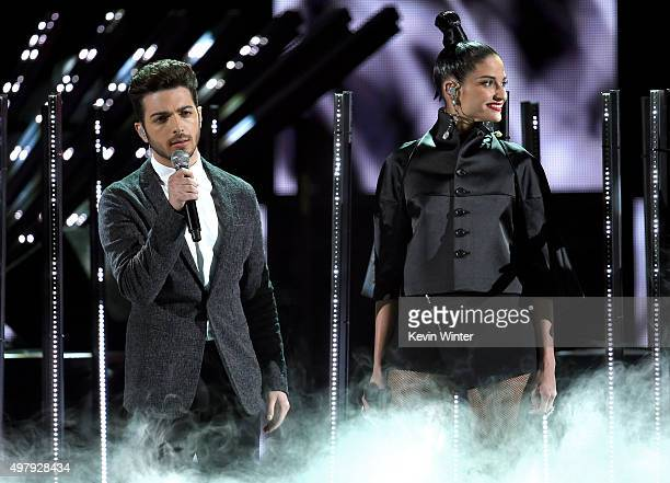 Singers Gianluca Ginoble of Il Volo and Natalia Jimenez perform onstage during the 16th Latin GRAMMY Awards at the MGM Grand Garden Arena on November...
