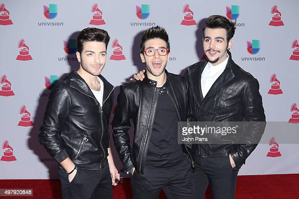 Singers Gianluca Ginoble Piero Barone and Ignazio Boschetto of Il Volo attend the 16th Latin GRAMMY Awards at the MGM Grand Garden Arena on November...