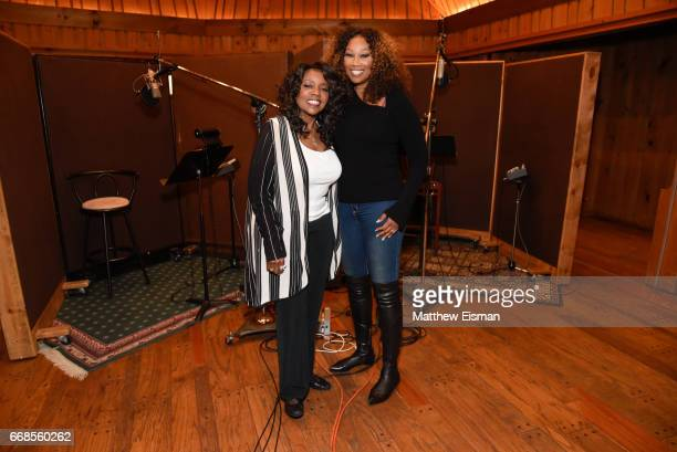 Singers Gloria Gaynor and Yolanda Adams pose together for a photo during the recording of the upcoming release 'Testimony' at Avatar Studios on April...