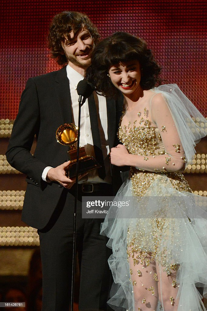 Singers <a gi-track='captionPersonalityLinkClicked' href=/galleries/search?phrase=Gotye&family=editorial&specificpeople=4056440 ng-click='$event.stopPropagation()'>Gotye</a> (L) and Kimbra accept an award onstage at the 55th Annual GRAMMY Awards at Staples Center on February 10, 2013 in Los Angeles, California.