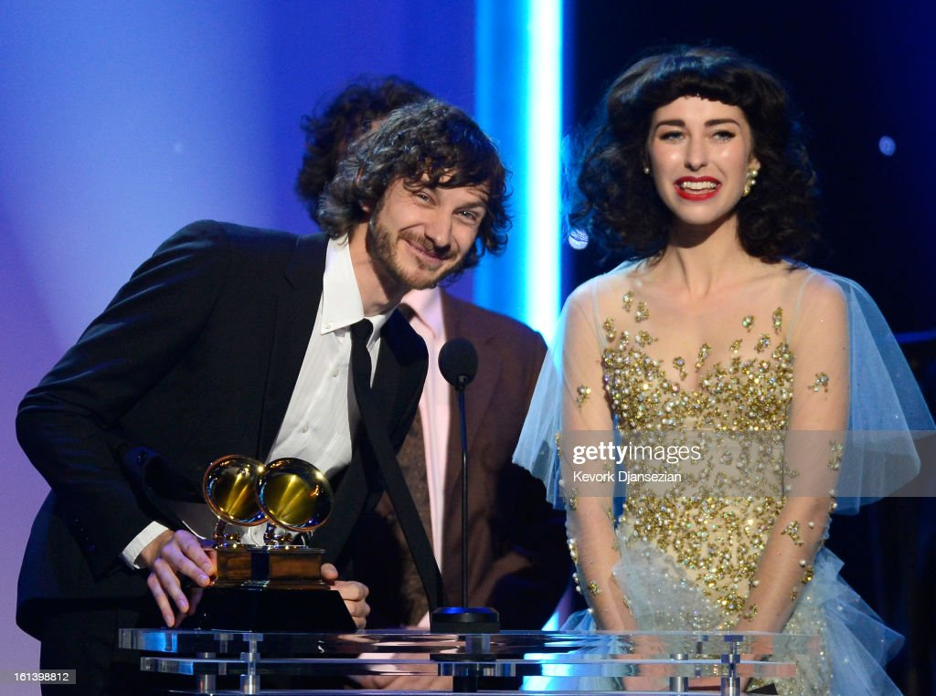 Singers <a gi-track='captionPersonalityLinkClicked' href=/galleries/search?phrase=Gotye&family=editorial&specificpeople=4056440 ng-click='$event.stopPropagation()'>Gotye</a> (L) and Kimbra accept the Best Pop Duo/Group Performance Award for 'Somebody That I Used To Know' onstage at the The 55th Annual GRAMMY Awards at Nokia Theatre on February 10, 2013 in Los Angeles, California.