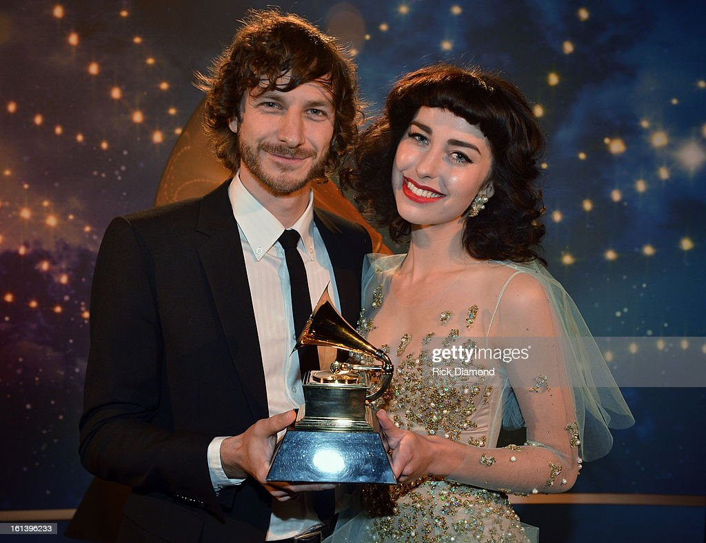 Singers Gotye (L) and Kimbra appear onstage during the 55th Annual GRAMMY Awards Pre-Telecast at Nokia Theatre L.A. Live on February 10, 2013 in Los Angeles, California.