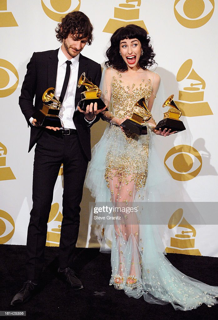 Singers <a gi-track='captionPersonalityLinkClicked' href=/galleries/search?phrase=Gotye&family=editorial&specificpeople=4056440 ng-click='$event.stopPropagation()'>Gotye</a> and Kimbra pose in the press room during the 55th Annual GRAMMY Awards at STAPLES Center on February 10, 2013 in Los Angeles, California.