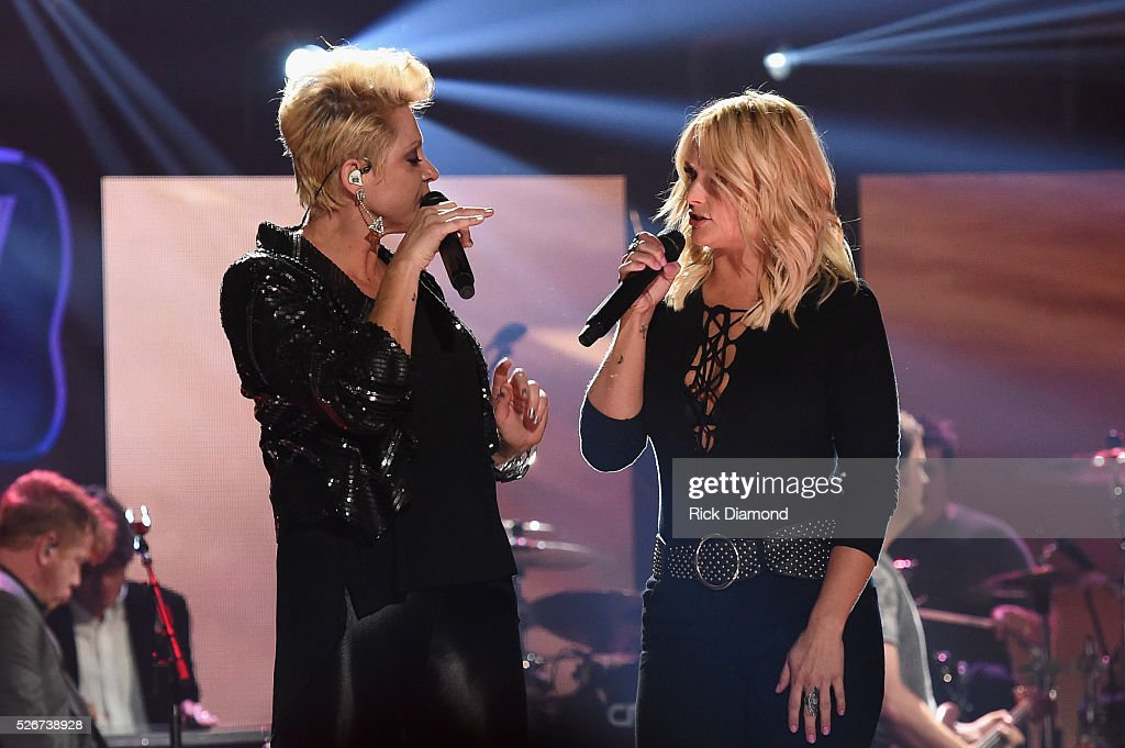 Singers Gwen Sebastian and Miranda Lambert perform onstage during the 2016 iHeartCountry Festival at The Frank Erwin Center on April 30, 2016 in Austin, Texas.