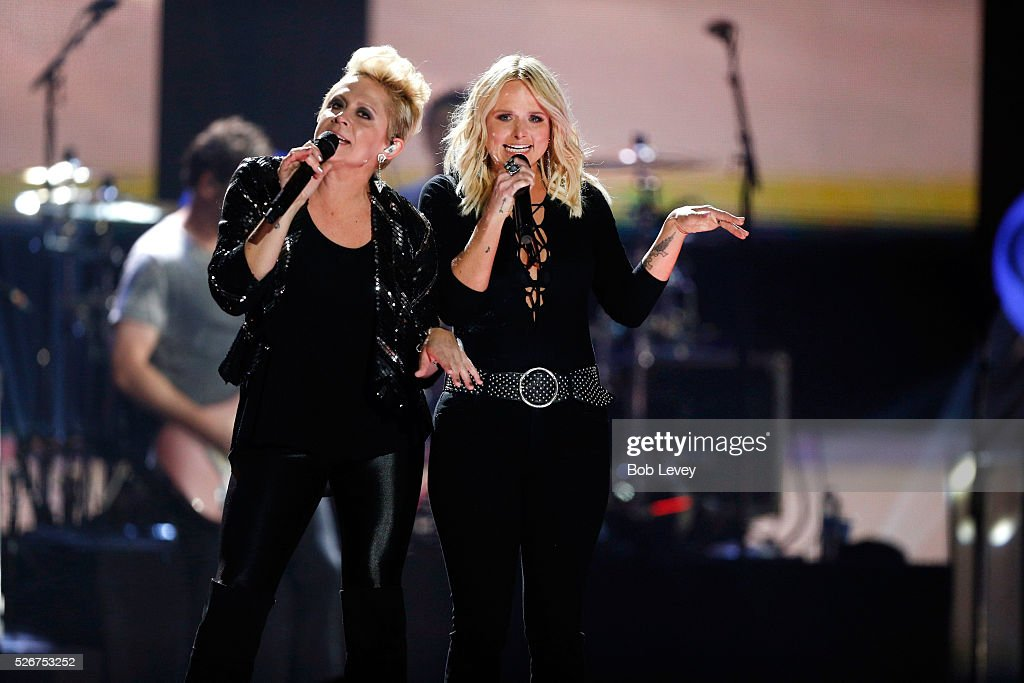 Singers Gwen Sebastian (L) and Miranda Lambert perform onstage during the 2016 iHeartCountry Festival at The Frank Erwin Center on April 30, 2016 in Austin, Texas.