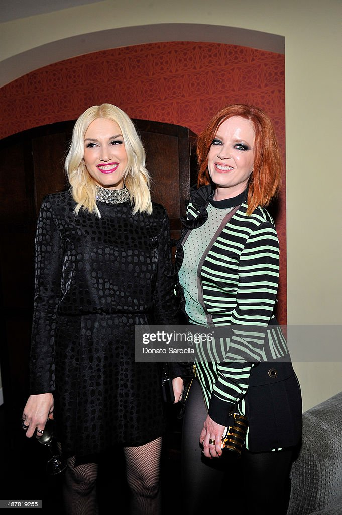 Singers Gwen Stefani and Shirley Manson attend A private dinner In honor of Fausto Puglisi of Emanuel Ungaro hosted by Barneys New York at Chateau Marmont on May 1, 2014 in Los Angeles, California.