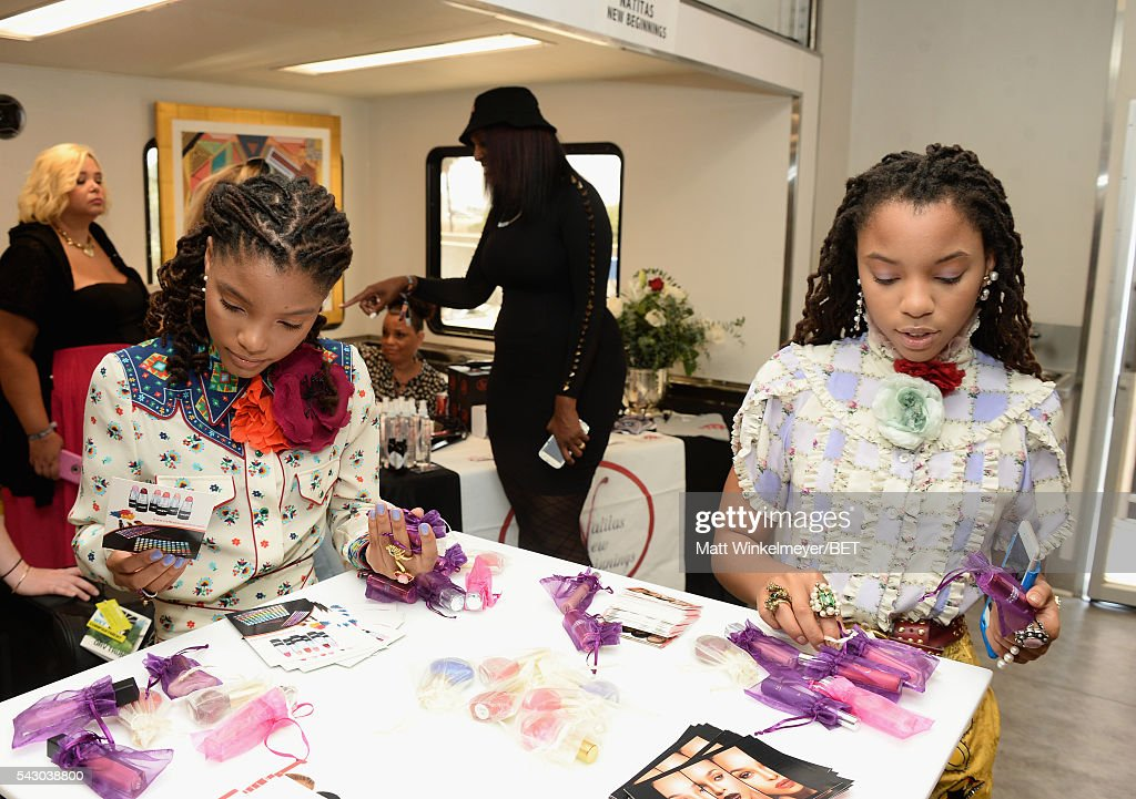 Singers Halle Bailey (L) and Chloe Bailey of Chloe x Halle attend the BETX gifting suite during the 2016 BET Experience on June 25, 2016 in Los Angeles, California.