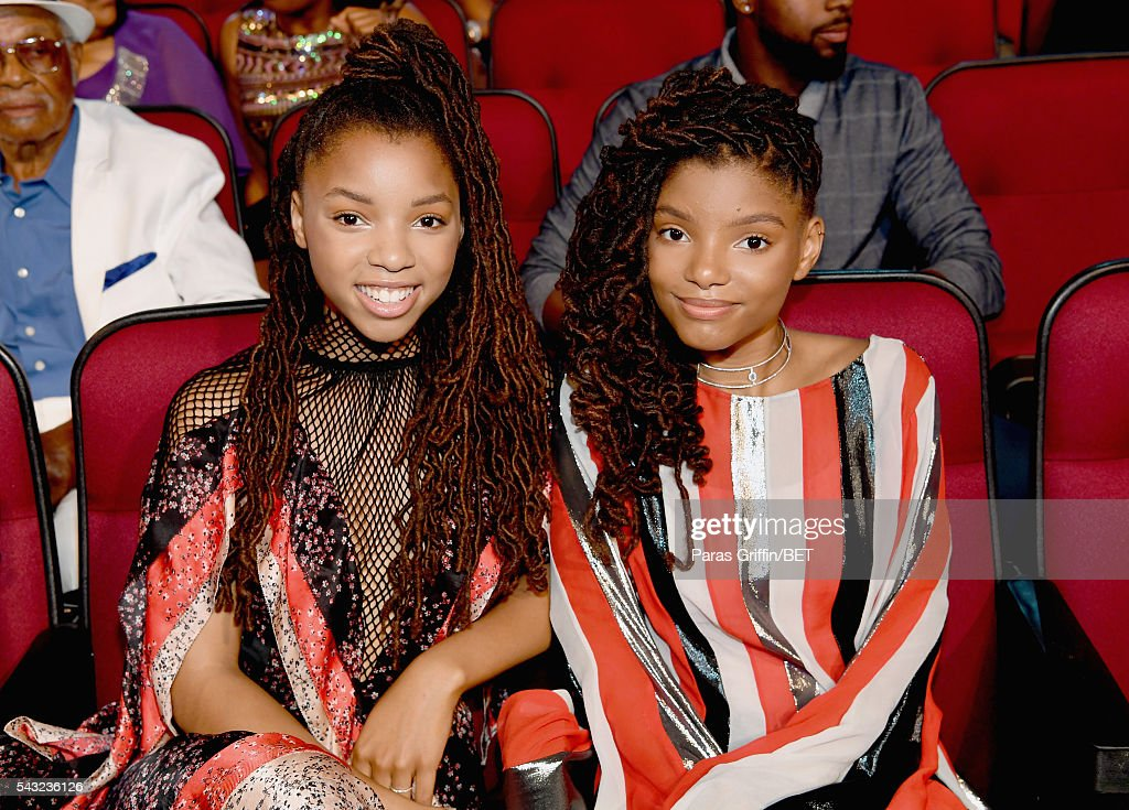 Singers Halle Bailey (L) and Chloe Bailey of Chloe x Halle attend the 2016 BET Awards at the Microsoft Theater on June 26, 2016 in Los Angeles, California.