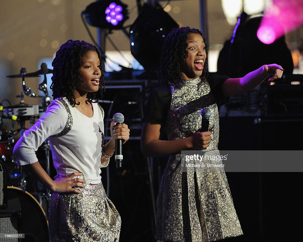 Singers Halle Bailey (L) and Chloe Bailey perform during her appearance at Radio Disney's N.B.T. 'Next BIG Thing' Season 5 at The Americana at Brand on December 8, 2012 in Glendale, California.