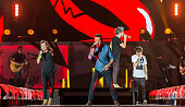 Singers Harry Styles Liam Payne Niall Horan and Louis Tomlinson of One Direction perform during On the Road Again Tour 2015 at Lincoln Financial...