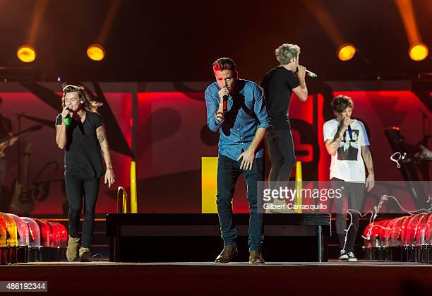 Singers Harry Styles Liam Payne Niall Horan and Louis Tomlinson perform during On the Road Again Tour 2015 at Lincoln Financial Field on September 1...