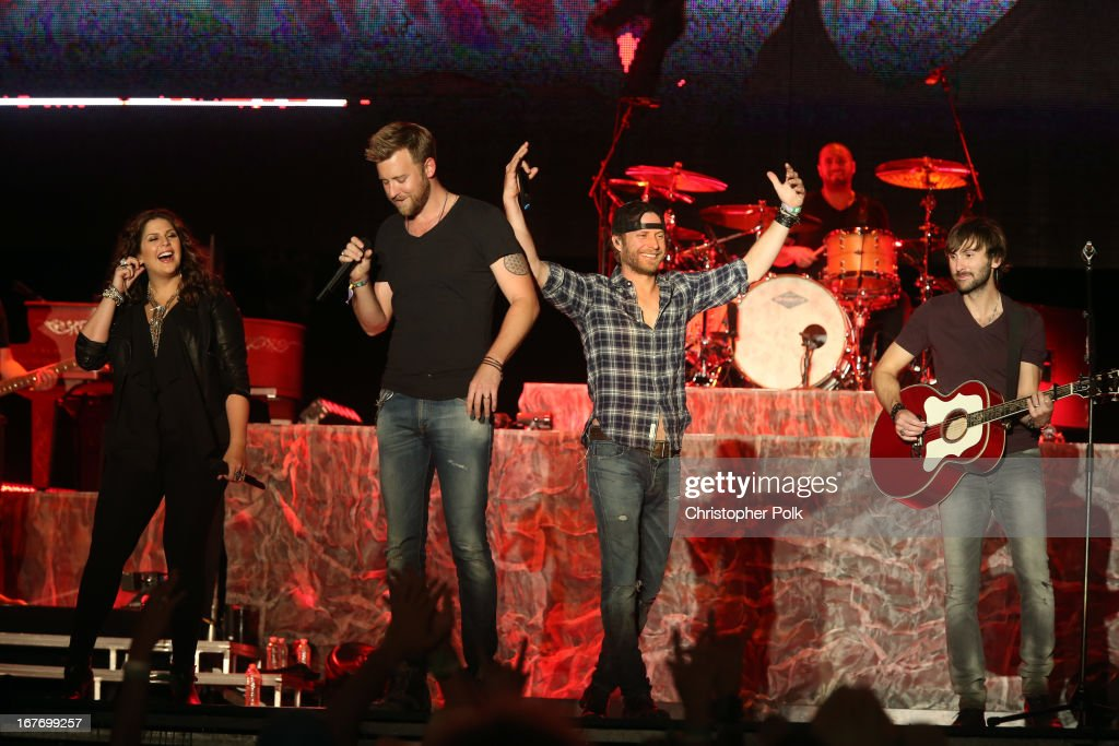 Singers Hillary Scott, Dierks Bentley, Charles Kelley, and Dave Haywood of Lady Antebellum perform onstage during 2013 Stagecoach: California's Country Music Festival held at The Empire Polo Club on April 27, 2013 in Indio, California.