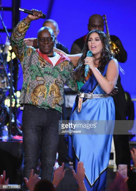 Singers Hillary Scott of Lady Antebellum performs onstage with Philip Bailey of Earth Wind Fire during CMT Crossroads Earth Wind Fire and Friends on...
