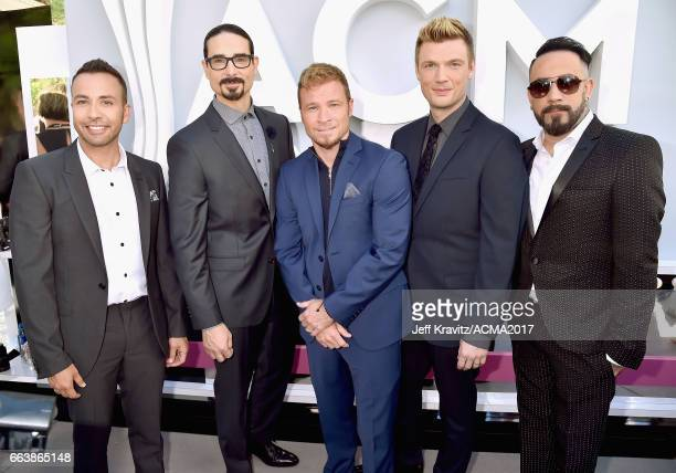 Singers Howie D Kevin Richardson Brian Littrell Nick Carte and AJ McLean of the Backstreet Boys attend the 52nd Academy Of Country Music Awards at...