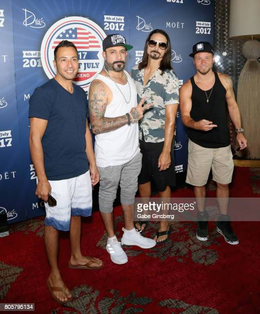 Singers Howie Dorough AJ McLean Kevin Richardson and Brian Littrell of the Backstreet Boys attend a Fourth of July weekend celebration at Drai's...
