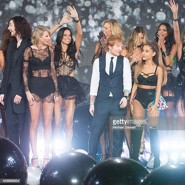 Singers Hozier Taylor Swift Ed Sheeran and Ariana Grande attend the annual Victoria's Secret fashion show at Earls Court on December 2 2014 in London...