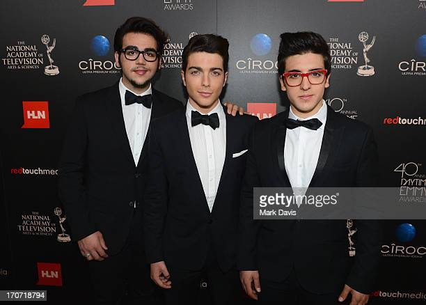 Singers Ignazio Boschetto Gianluca Ginoble and Piero Barone of Il Volo attend The 40th Annual Daytime Emmy Awards at The Beverly Hilton Hotel on June...