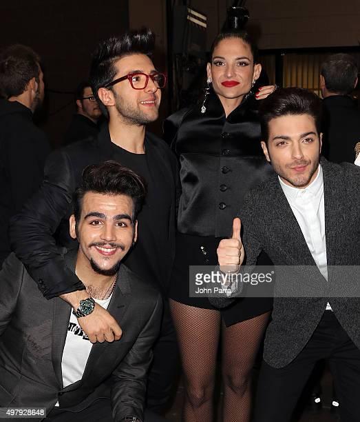 Singers Ignazio Boschetto Piero Barone of Il Volo Natalia Jimenez and Gianluca Ginoble of Il Volo attend the 16th Latin GRAMMY Awards at the MGM...