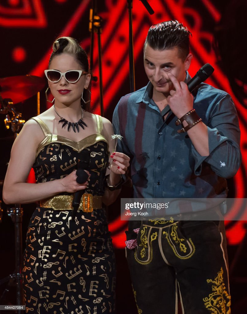 Singers Imelda May and Andreas Gabalier perform during the TV-Show 'Gabalier - Die Volks-Rock'n'Roll-Show' on August 30, 2014 in Fuessen, Germany.
