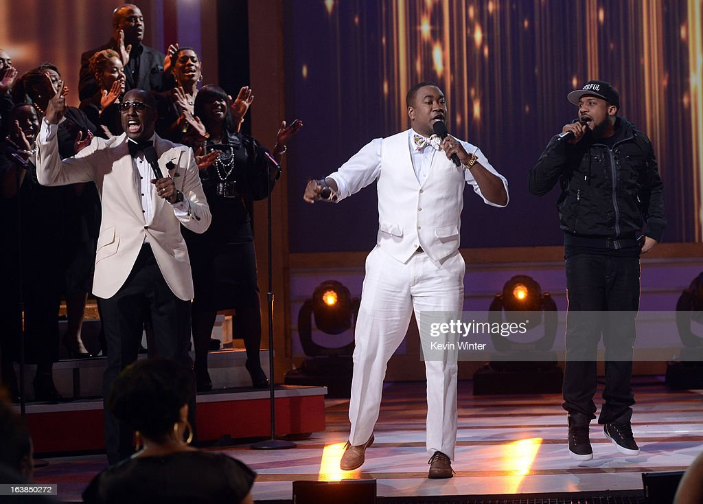 Singers Isaac Carree, Canton Jones, and Da' T.R.U.T.H. perform onstage during the BET Celebration of Gospel 2013 at Orpheum Theatre on March 16, 2013 in Los Angeles, California.