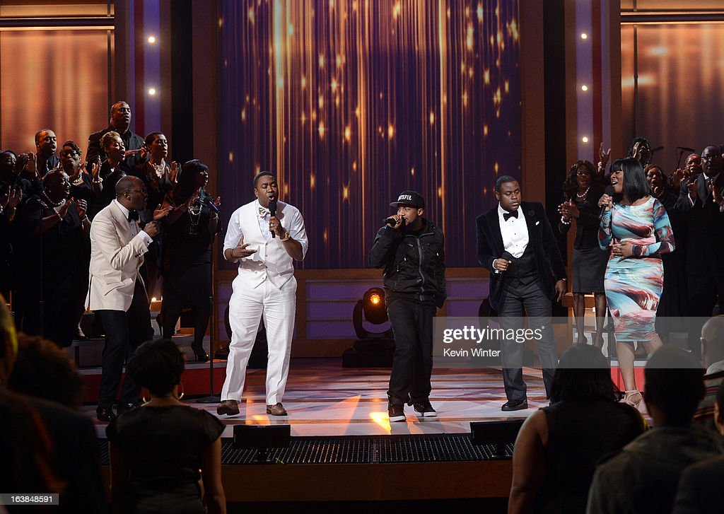 Singers Isaac Carree, Canton Jones, Da' T.R.U.T.H., Charles Jenkins and Jessica Reedy perform onstage during the BET Celebration of Gospel 2013 at Orpheum Theatre on March 16, 2013 in Los Angeles, California.