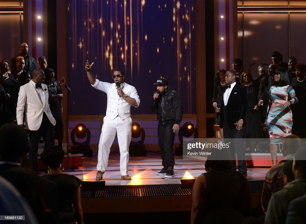 Singers Isaac Carree, Canton Jones, Da' T.R.U.T.H., Charles Jenkins, and Jessica Reedy perform onstage during the BET Celebration of Gospel 2013 at Orpheum Theatre on March 16, 2013 in Los Angeles, California.