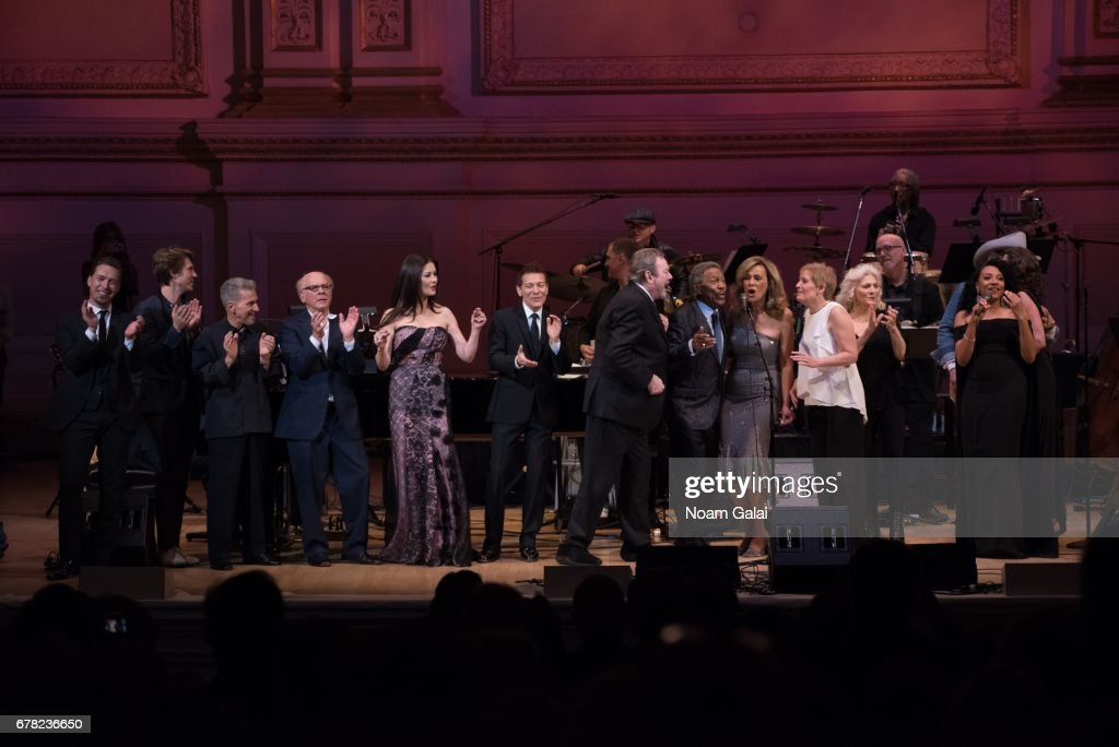 Singers Isaac Hanson, Taylor Hanson, Johnny Rivers, Art Garfunkel, Catherine Zeta-Jones, Michael Feinstein, Jimmy Webb, Billy Davis Jr., Marilyn McCoo, Liz Callaway, Judy Collins and Shelea perform during a tribute concert honoring Jimmy Webb at Carnegie Hall on May 3, 2017 in New York City.