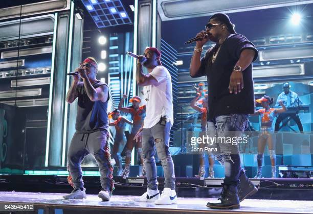 Singers J Balvin Felix 'Zion' Ortiz of Zion y Lennox and Gabriel 'Lennox' Pizarro of Zion y Lennox rehearse on stage at Univision's 29th Edition Of...