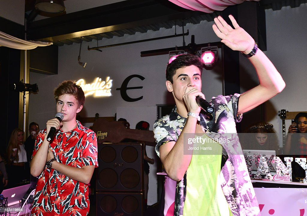 Singers Jack Johnson and <a gi-track='captionPersonalityLinkClicked' href=/galleries/search?phrase=Jack+Gilinsky&family=editorial&specificpeople=13483093 ng-click='$event.stopPropagation()'>Jack Gilinsky</a> of Jack and Jack perform at Candie's Presents The Official Pre-Party For Teen Choice 2014, A DigiTour Production at The Gibson Showroom on August 9, 2014 in Los Angeles, California.