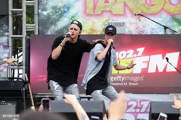 Singers Jack Johnson and Jack Gilinsky of Jack Jack perform at The Village at 1027 KIIS FM's 2016 Wango Tango at StubHub Center on May 14 2016 in...