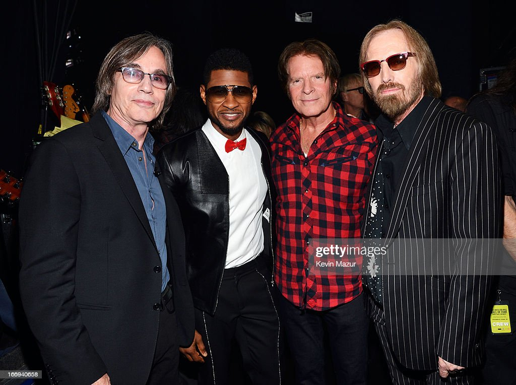 Singers Jackson Browne, Usher, John Fogerty and Tom Petty attend the 28th Annual Rock and Roll Hall of Fame Induction Ceremony at Nokia Theatre L.A. Live on April 18, 2013 in Los Angeles, California.