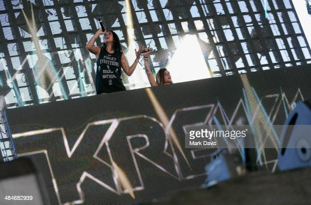 Singers Jahan Yousaf and Yasmine Yousaf of Krewella perform onstage during day 3 of the 2014 Coachella Valley Music Arts Festival at the Empire Polo...