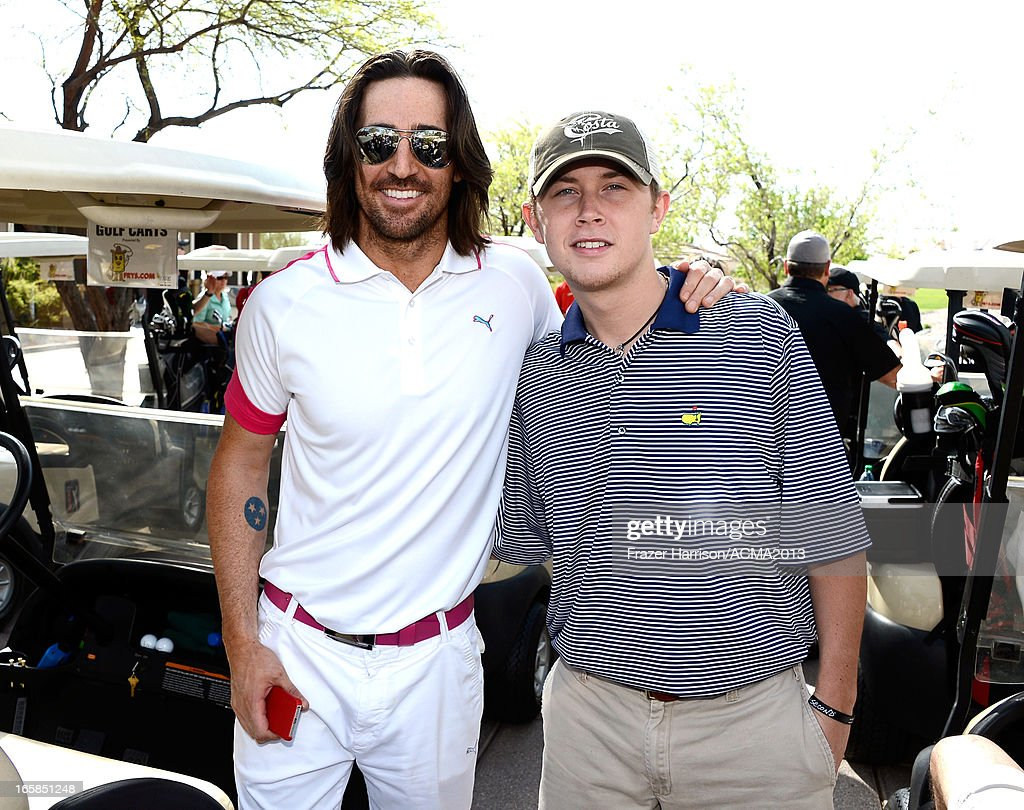 Singers Jake Owen (L) and Scotty McCreery attend the ACM Lifting Lives Celebrity Golf Classic during the 48th Annual Academy of Country Music Awards at TPC Summerlin on April 6, 2013 in Las Vegas, Nevada.