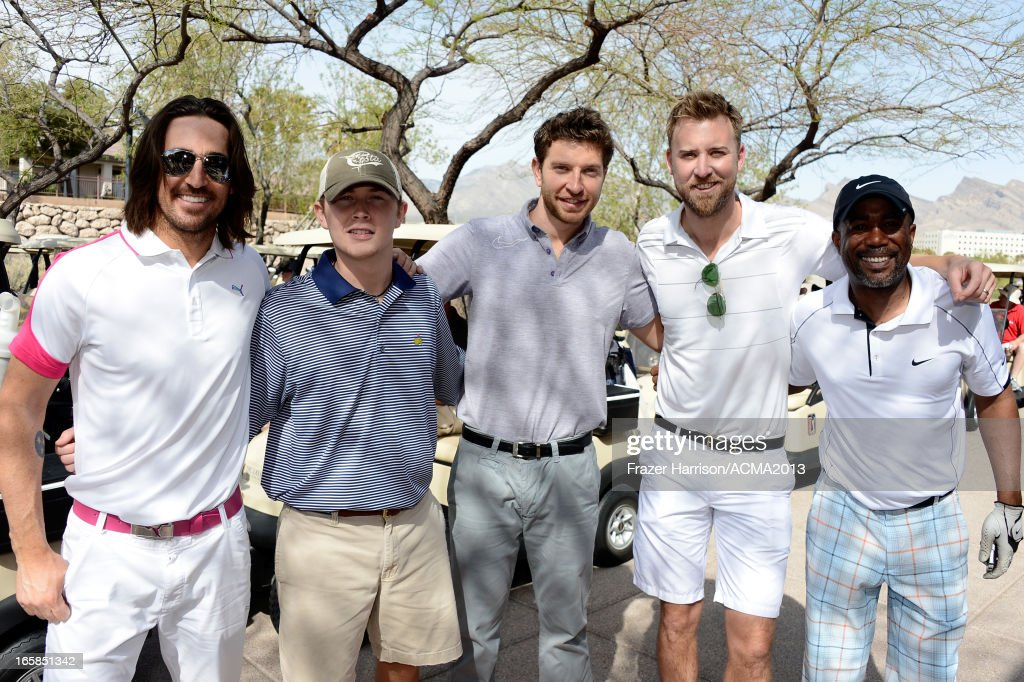 Singers Jake Owen Scotty McCreery, Brett Eldredge, Charles Kelley of Lady Antebellum, and Darius Rucker attend the ACM Lifting Lives Celebrity Golf Classic during the 48th Annual Academy of Country Music Awards at TPC Summerlin on April 6, 2013 in Las Vegas, Nevada.