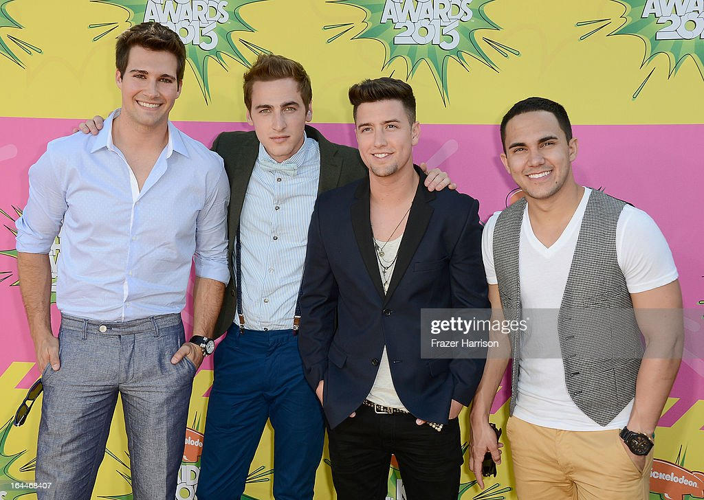 Singers (L-R) <a gi-track='captionPersonalityLinkClicked' href=/galleries/search?phrase=James+Maslow&family=editorial&specificpeople=6522849 ng-click='$event.stopPropagation()'>James Maslow</a>, <a gi-track='captionPersonalityLinkClicked' href=/galleries/search?phrase=Kendall+Schmidt&family=editorial&specificpeople=6326531 ng-click='$event.stopPropagation()'>Kendall Schmidt</a>, <a gi-track='captionPersonalityLinkClicked' href=/galleries/search?phrase=Logan+Henderson&family=editorial&specificpeople=6524299 ng-click='$event.stopPropagation()'>Logan Henderson</a> and Carlos Pena Jr. of Big Time Rush arrive at Nickelodeon's 26th Annual Kids' Choice Awards at USC Galen Center on March 23, 2013 in Los Angeles, California.