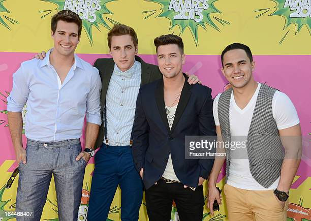 Singers James Maslow Kendall Schmidt Logan Henderson and Carlos Pena Jr of Big Time Rush arrive at Nickelodeon's 26th Annual Kids' Choice Awards at...