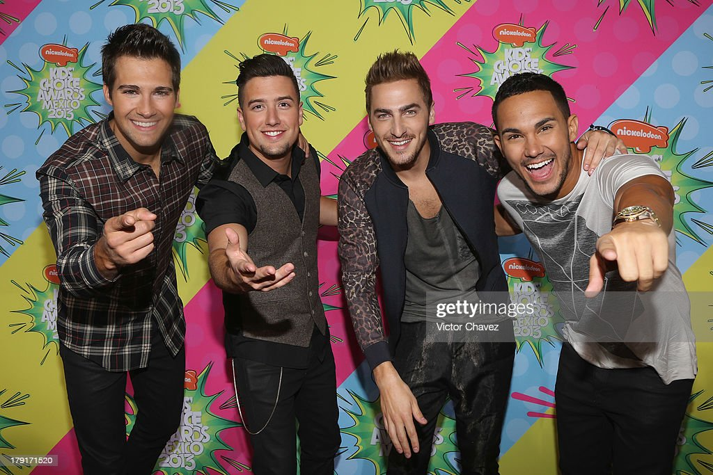 Singers James Maslow, Logan Henderson, Kendall Schmidt and Carlos Roberto Pena Jr. of Big Time Rush arrive at Kids Choice Awards Mexico 2013 at Pepsi Center WTC on August 31, 2013 in Mexico City, Mexico.