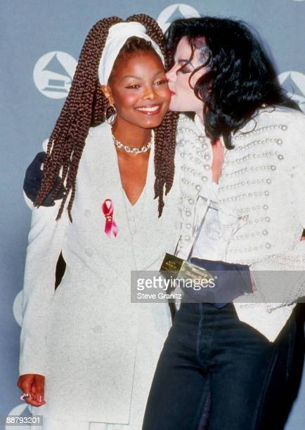 Singers Janet Jackson and Michael Jackson at the The 35th Annual GRAMMY Awards held at the Shrine Auditorium on February 24 1993 in Los Angeles...