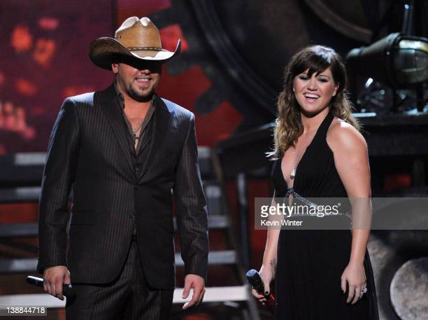 Singers Jason Aldean and Kelly Clarkson perform onstage at the 54th Annual GRAMMY Awards held at Staples Center on February 12 2012 in Los Angeles...