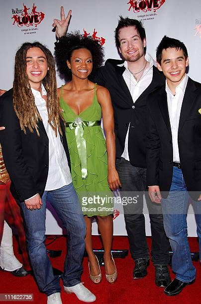 Singers Jason Castro Syesha Mercado David Cook and David Archuleta arrive at The Beatles LOVE by Cirque du Soleil' show at the Mirage Hotel Casino...