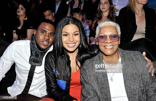 Singers Jason Derule Jordin Sparks and Dionne Warwick in the audience at FOX's 'American Idol' Season 11 Top 9 Live Performance Show on March 28 2012...