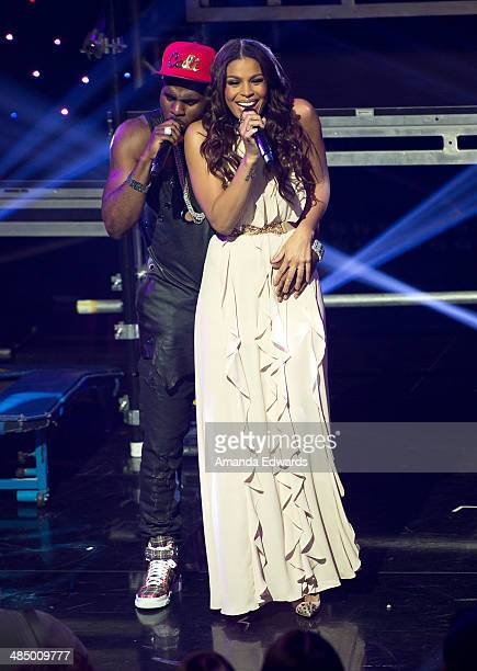 Singers Jason Derulo and Jordin Sparks perform onstage at the Clear Channel iHeartRadio album release party for Jason Derulo's new album 'Talk Dirty'...