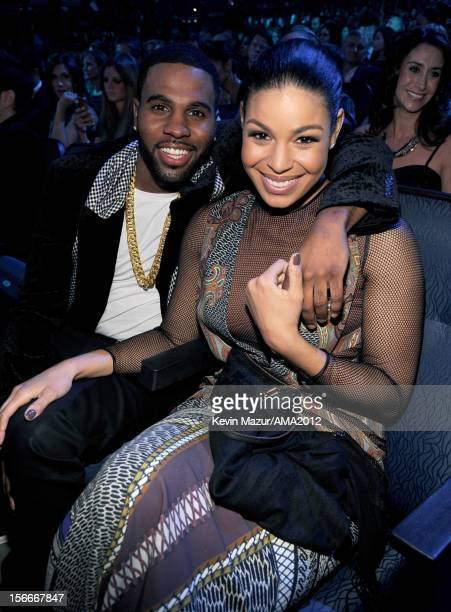 Singers Jason Derulo and Jordin Sparks pose in the audience at the 40th American Music Awards held at Nokia Theatre LA Live on November 18 2012 in...