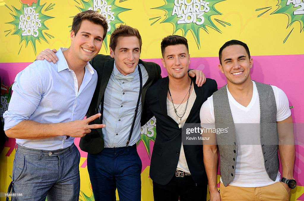 Singers Jason Maslow, Kendall Schmidt, Logan Henderson and Carlos Pena Jr. of Big Time Rush arrive at Nickelodeon's 26th Annual Kids' Choice Awards at USC Galen Center on March 23, 2013 in Los Angeles, California.