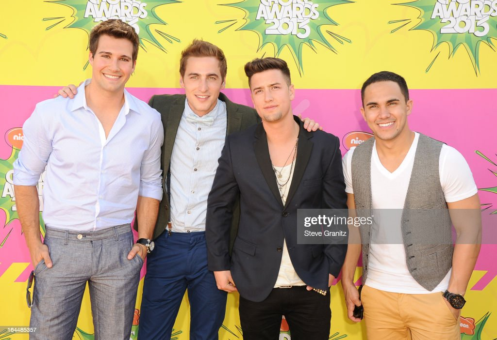 Singers (L-R) Jason Maslow, Kendall Schmidt, Logan Henderson and Carlos Pena Jr. of Big Time Rush arrive at Nickelodeon's 26th Annual Kids' Choice Awards at USC Galen Center on March 23, 2013 in Los Angeles, California.